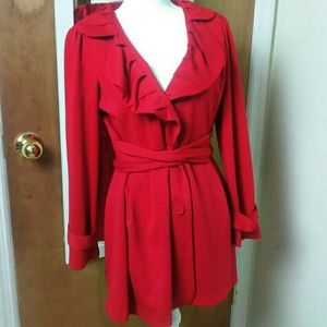 Fever Scarlet Red Ruffle Front Waist Tie Coat